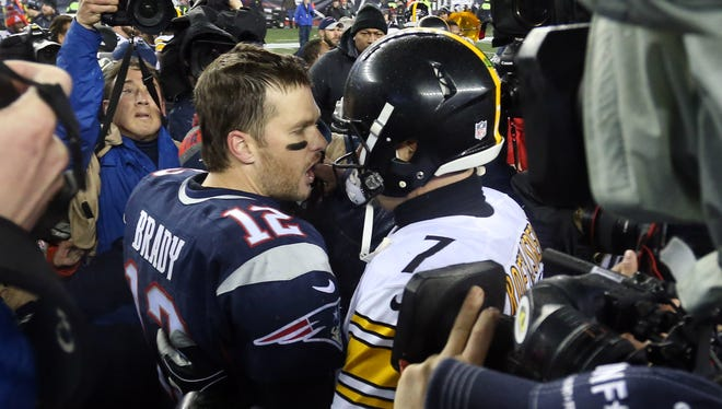 New England Patriots quarterback Tom Brady (12) and Pittsburgh Steelers quarterback Ben Roethlisberger (7) are set to meet again in a possible AFC Championship Game preview.