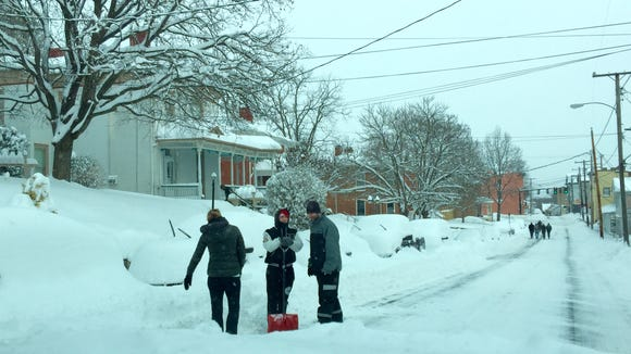 A number of people were out Saturday afternoon digging
