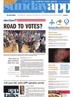 Asbury Park Press front page, Sunday, July 5, 2015