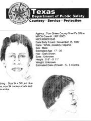 In 1994, DPS created this sketch of John Doe 1, whose body was found in 1987.
