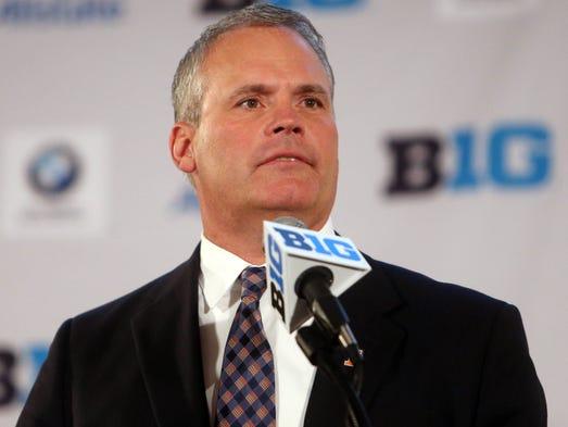 Illinois Fighting Illini head coach Tim Beckman addresses the media during the Big Ten football media day at Hilton Chicago.