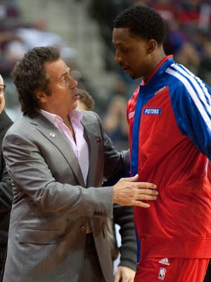 Pistons owner Tom Gores speaks with new point guard Brandon Jennings.