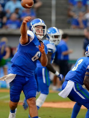 UWF Kaleb Nobles makes a throw Saturday during UWF's first home football game against Missouri S&T at Blue Wahoos Stadium. Nobles and placekicker Austin Peffers earned Gulf South Conference awards Monday.
