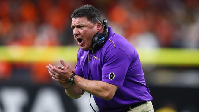 Jan 13, 2020; New Orleans, Louisiana, USA; LSU Tigers head coach Ed Orgeron reacts against the Clemson Tigers second quarter in the College Football Playoff national championship game at Mercedes-Benz Superdome. Mandatory Credit: Mark J. Rebilas-USA TODAY Sports