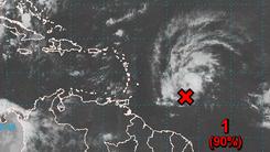 A tropical disturbance near the Caribbean has a high