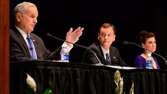 Minnesota candidates for Governor  Democrat Gov. Mark Dayton, left, Rpublican Jeff Johnson, center,  and Independent Hannah Nicollet debate debate
