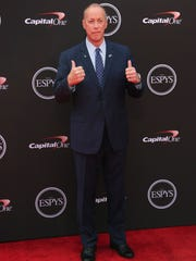 Former NFL quarterback Jim Kelly arrives at the ESPY Awards at Microsoft Theater on Wednesday, July 18, 2018, in Los Angeles. (Photo by Willy Sanjuan/Invision/AP)