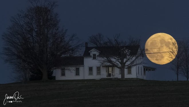 Jerome Davis shot this photo of the supermoon in Penfield Sunday night.