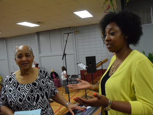Connie Chenevert (right) and Chelsay Blake volunteer to instruct the Acadian Spring 2016 Vocalists at Acadian Elementary School, which had a concert Wednesday. The school doesn't have an official performing arts program. Both women substitute teach at the school and Blake has a daughter in pre-kindergarten at the school.