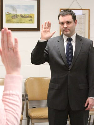 Acting Poweshiek County Attorney Bart Klaver is sworn in as Poweshiek County Attorney by Missy Eilander, Auditor/Commissioner of Elections. Klaver fills the vacancy left by the resignation of Rebecca Petig who accepted a position as Poweshiek County Magistrate for District 8.