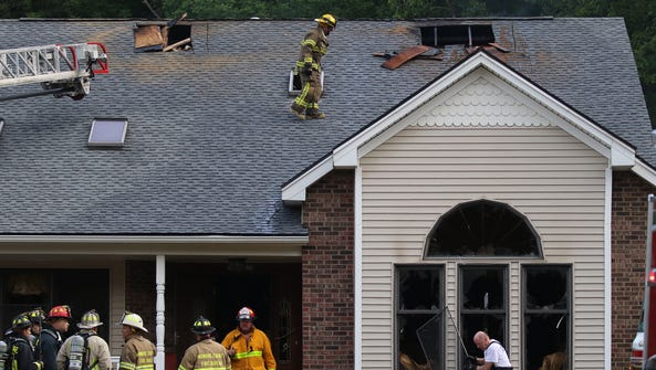Firefighters stayed on scene to make sure hot spots