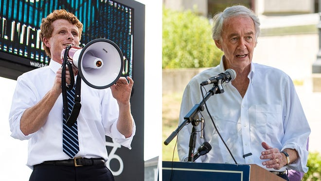 U.S. Rep. Joseph P. Kennedy III, left, campaigns at the intersection of Park Avenuet and Pleasant Street on  Aug. 5 and Sen. Edward J. Markey, right, campaigns on the Worcester Common Aug. 20.