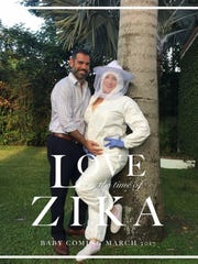 Sloane Borr and her husband got creative with their pregnancy announcement. At the time, the suit was half a joke, but now their Little River home is in the newest Zika zone.--- CREDIT: Amy Lesesne