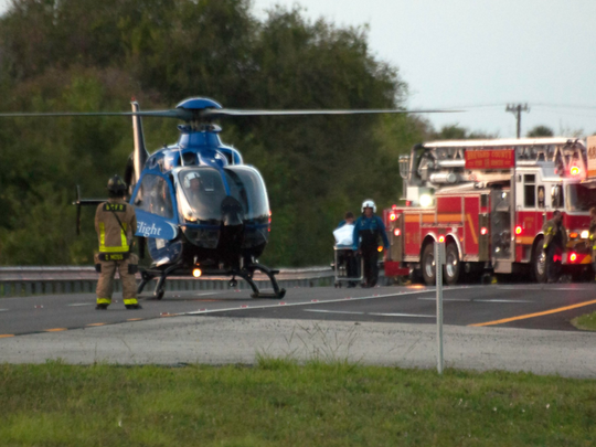 A medical helicopter on the scene of a crash on U.S. 1 near Suntree on Wednesday, March 8, 2017.