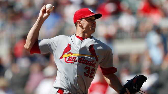 St. Louis Cardinals starting pitcher Jack Flaherty works against the Atlanta Braves in the first inning of a baseball game Wednesday, Sept. 19, 2018, in Atlanta. (AP Photo/John Bazemore)