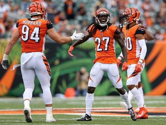 Cincinnati Bengals cornerback Dre Kirkpatrick (27) celebrates a pass break up in the fourth quarter of an Week 5 NFL football game against the Arizona Cardinals, Sunday, Oct. 6, 2019, at Paul Brown Stadium in Cincinnati. The Arizona Cardinals won 26-23.  Arizona Cardinals At Cincinnati Bengals Oct 6