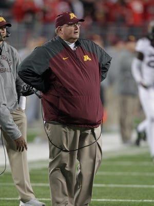 Minnesota interim head coach Tracy Claeys on the sidelines against Ohio State during an NCAA college football game Saturday, Nov. 7, 2015, in Columbus, Ohio. (AP Photo/Jay LaPrete)