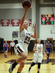 Station Camp's Emiline Payne soars to the hoop against La Vergne during Friday's contest.