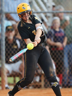 Bishop Verot High School's Alexis Hollinger drives in two runs against Delray Beach American Heritage on Thursday at Sam Fleishman Park in Fort Myers. Verot beat Heritage 14-2 in the Class 4A regional semifinal softball game.