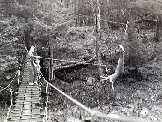 A hunting camp in New York's Catskill Mountains used a suspended cable to haul deer across a river during the 1950s.
