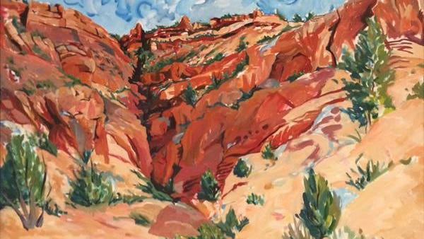 """Rebecca Gaver's """"Squaw Canyon"""" was on display in the Eccles Grand Foyer on the Dixie State University campus as part of the Sears Art Museum Gallery exhibit """"One X One"""" in 2015."""