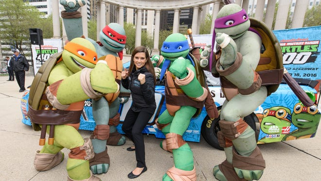 CHICAGO, IL - APRIL 26:  Danica Patrick and the Teenage Mutant Ninja Turtles attend Nickelodeon And Chicagoland Speedway Team Up With Danica Patrick To Announce Teenage Mutant Ninja Turtles 400 Race On Sept. 18 at Wrigley Square at Millenium Park on April 26, 2016 in Chicago, Illinois.  (Photo by Daniel Boczarski/Getty Images for Nickelodeon) ORG XMIT: 633237875 ORIG FILE ID: 524564254