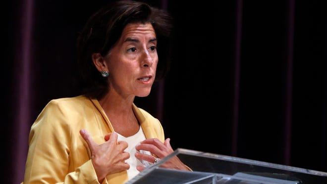 Governor Gina Raimondo speaks during her coronavirus update at Veterans Memorial Auditorium on Monday afternoon.
