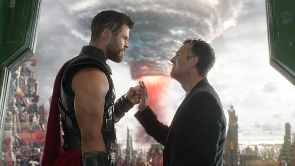 "Thor (Chris Hemsworth, left) and Bruce Banner (Mark Ruffalo) team up in ""Thor: Ragnarok."""