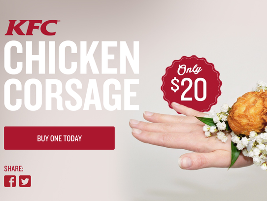 The KFC Chicken Corsage features a drumstick tied to baby's breath. What prom date wouldn't love one?