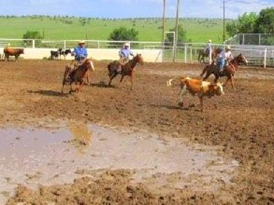 Roping a calf was a little tricky in the mud.