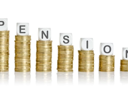 Coin stacks with letter dice - Pension