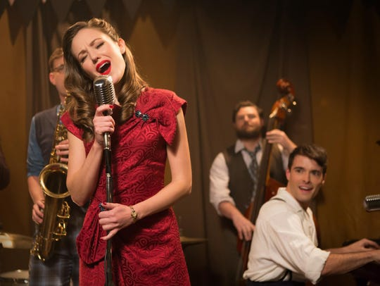 "Laura Osnes and Corey Cott in ""Bandstand."""