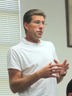 Former City Commissioner for District 4 Josh W. Rardin speaks at a Otero County Commission meeting. Rardin is running for Otero County Commissioner for District 3. Primary elections are on June 7.