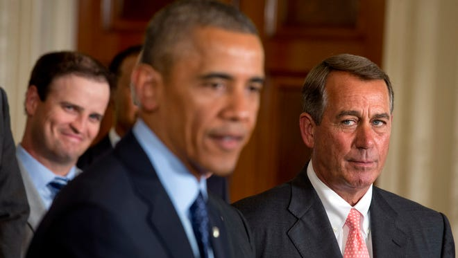 House Speaker John Boehner, R-Ohio, and President Obama at the White House