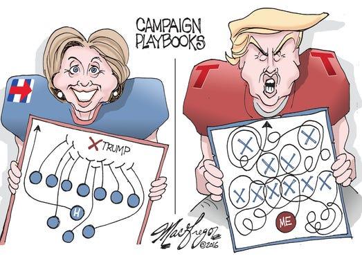 Doug MacGregor cartoon, Clinton-Trump playbooks
