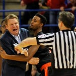 UTEP head coach Tim Floyd gets ejected from game early during the second half of an NCAA college basketball game against Louisiana Tech in Ruston, La., Thursday, Feb. 26, 2015. (AP Photo/Kita Wright)