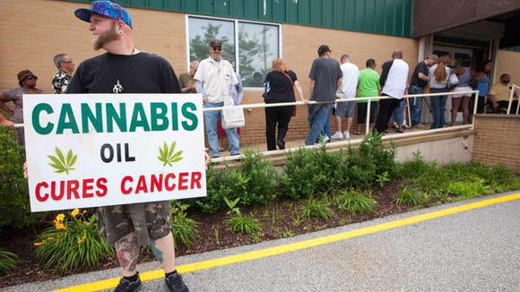 A medical marijuana supporter. The state received 11 bids to open dispensaries in the southern portion of the state.