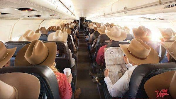 Put a cowboy on an airplane headed to the bright lights of Las Vegas during the Wrangler National Finals Rodeo and his capacity for wit and humor pegs the needle on the laugh meter. The only thing funnier is an entire plane load full of them.