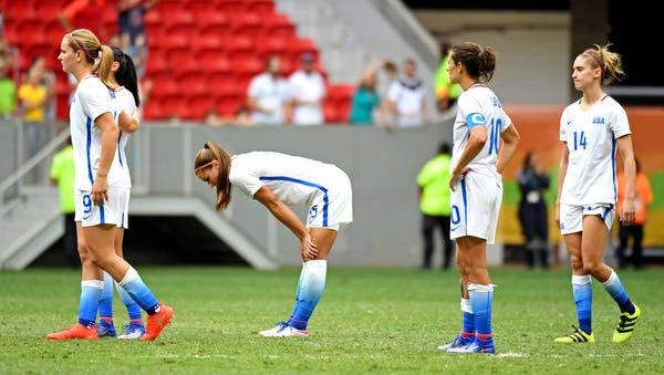 The United States reacts after the game against against Sweden during the women's football quarterfinals in the Rio 2016 Summer Olympic Games at Estadio Nacional Mane Garrincha. Mandatory Credit: Christopher Hanewinckel-USA TODAY Sports