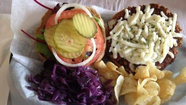 The black bean veggie burger from Veg Head.