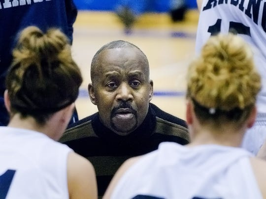 LCC Women's Basketball Head Coach Ervin Brunson speaks to his team during a time out in 2008. Brunson is retiring  after 24years.  Photo Gallery