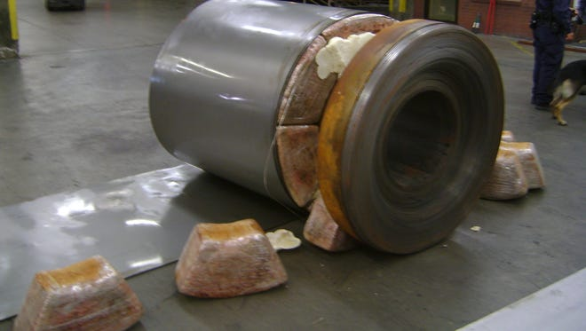 More than 600 pounds of marijuana was found inside spools of sheet metal Friday at the El Paso port of entry.