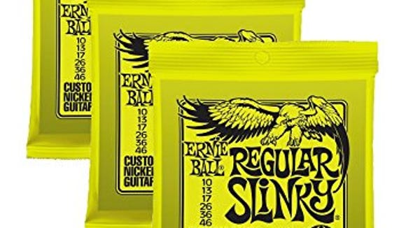 Packaging for Ernie Ball guitar strings.
