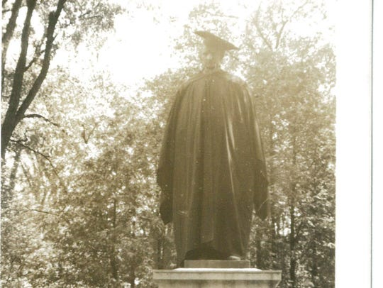 The Ira Allen statue photographed in the 1940s.