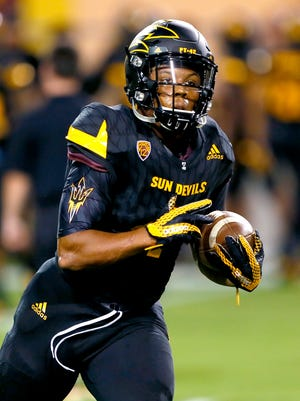 Arizona State running back Demario Richard (4) warms up prior to an NCAA college football game against Colorado, Saturday, Oct. 10, 2015, in Tempe, Ariz.