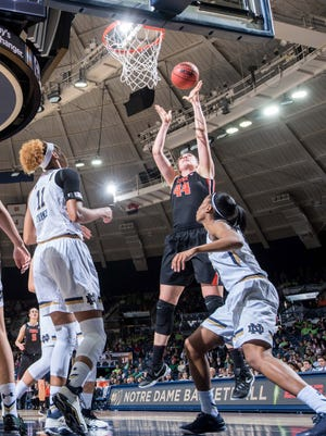 Oregon State center Ruth Hamblin is averaging 11.0 points, 17.0 rebounds, and 3.5 blocks in the first two rounds of the NCAA tournament.