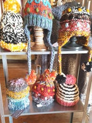 Hats by Lana Vosk, who is showing her work in this