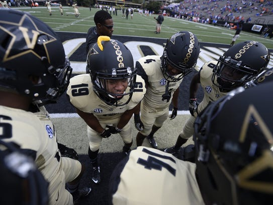 The Vanderbilt football team prior to the start of