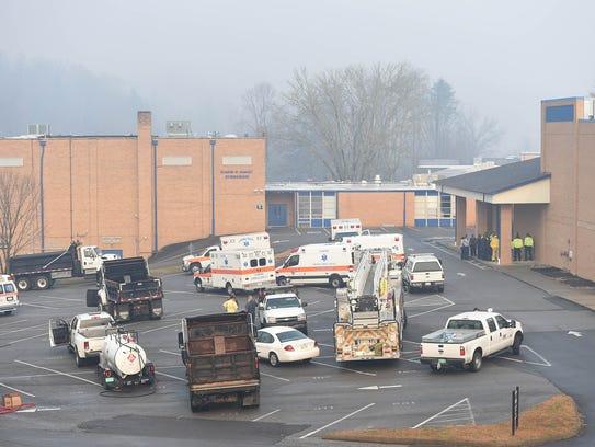 The TEMA command center at Gatlinburg-Pittman High