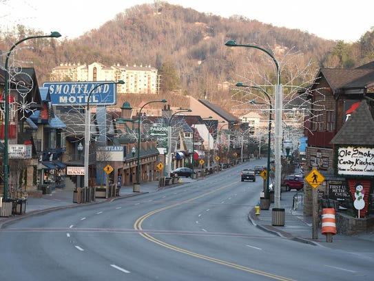 The parkway in downtown Gatlinburg after wildfires